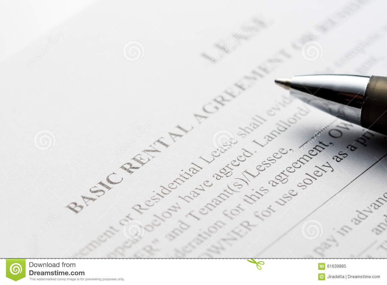 Basic Rental Agreement Wiht Pen Stock Photo   Image  61639885