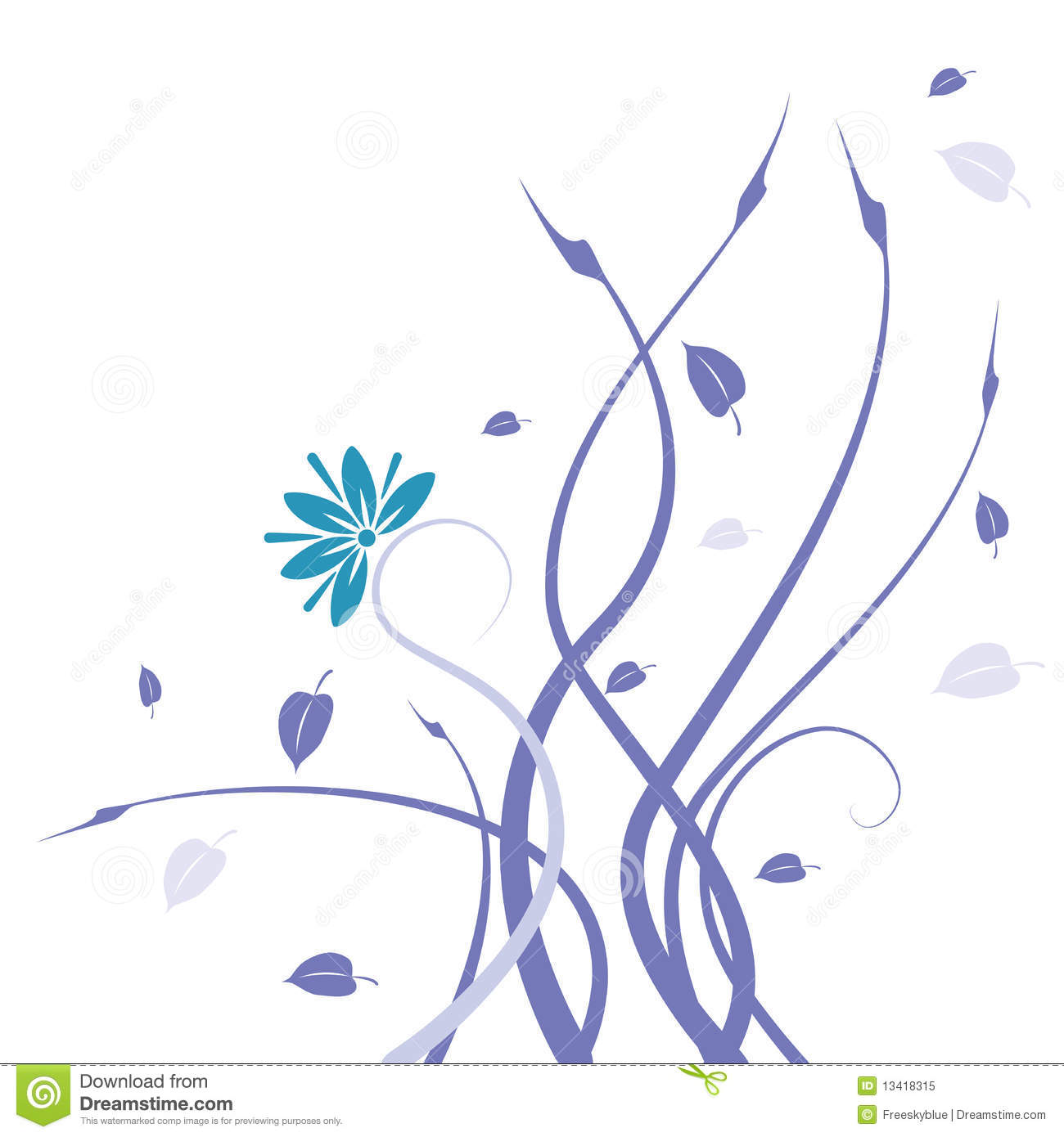 Blue Wild Flower And Vines Pattern Royalty Free Stock Photo   Image