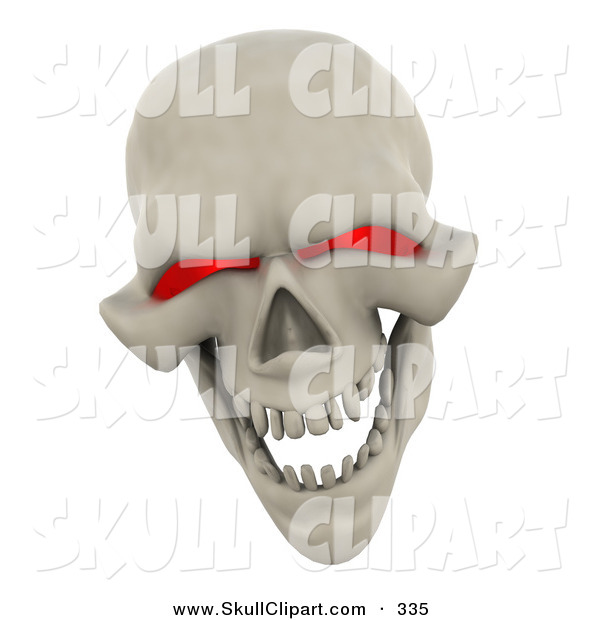 Clip Art Of A 3d Evil Red Eyed Skull Grinning And Laughing By Kj