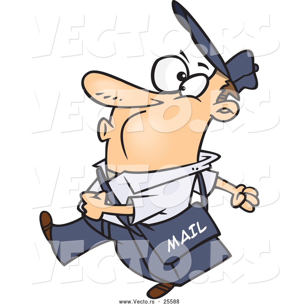 Happy Cartoon Mail Man Whistling And Walking While Carrying A Mailbag