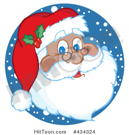 Santa Clipart  434324  Black Santa Face With Snow By Hit Toon