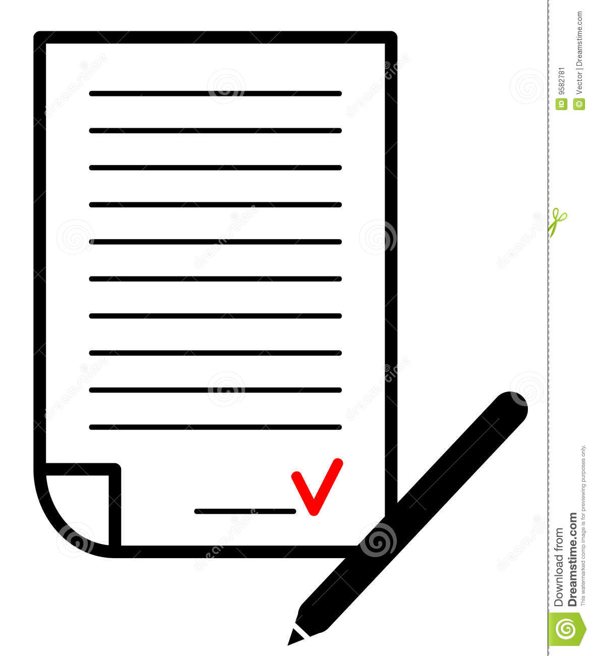 Signed Contract  Vector Illustration Stock Image   Image  9582781