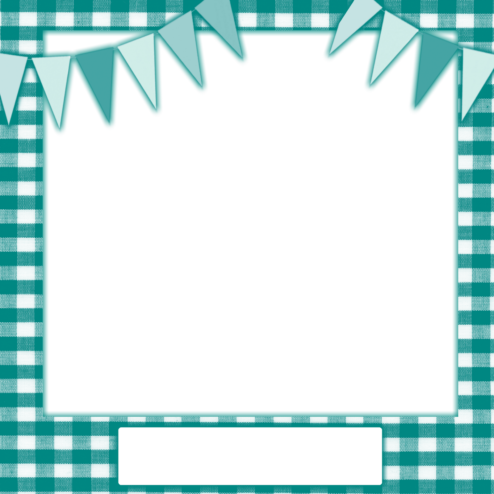 Teal Gingham With Teal And Light Blue Buntings