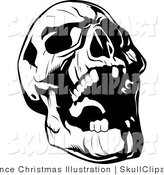 Vector Clip Art Of A Black And White Evil Skull Tilting Its Head Back
