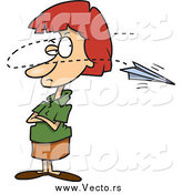 Vector Of A Cartoon Paper Plane Annoying A Red Haired White