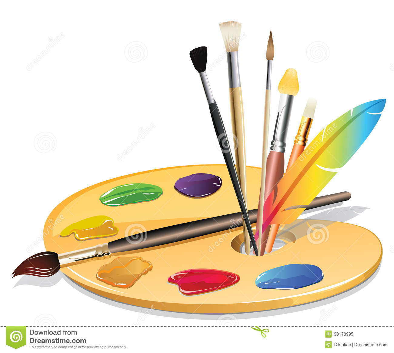 An Illustration Of Paintbrushes And A Pallet