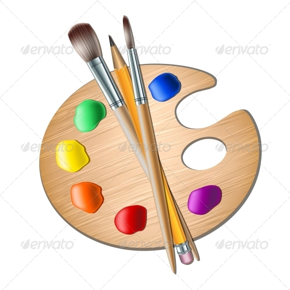 Art Palette With Paint Brush For Drawing   Man Made Objects Objects