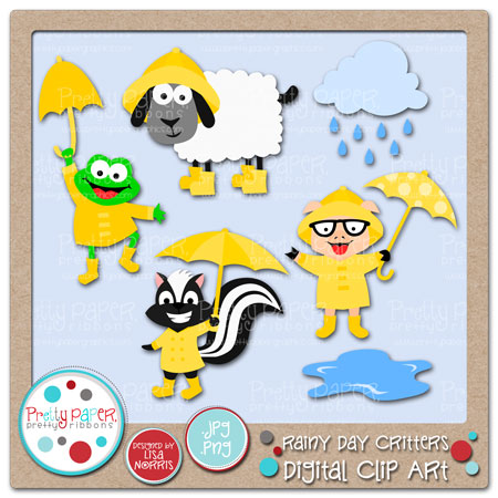Clip Art Images Included Puddle Rain Cloud Rainy Day Frog Rainy Day