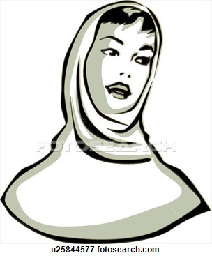 Clip Art   Retro Woman Wearing Scarf  Fotosearch   Search Clipart