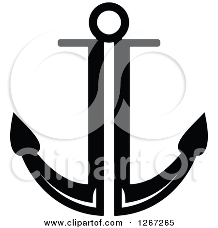 Clipart Of A Simple Outlined Black And White Nautical Anchor   Royalty