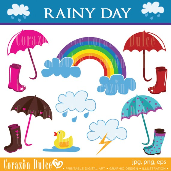 Clipart Rainy Day Digital Clip Art Set   Personal And Commercial Use