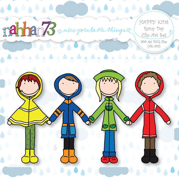 Digital Downloads   Happy Kids  Rainy Day   Clip Art Set  Hk 010