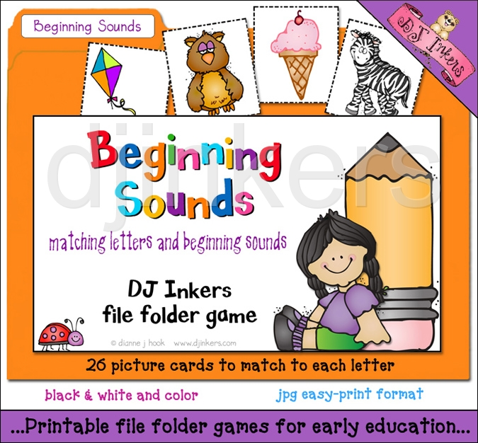 folder game to teach beginning sounds with darling dj inkers clip art