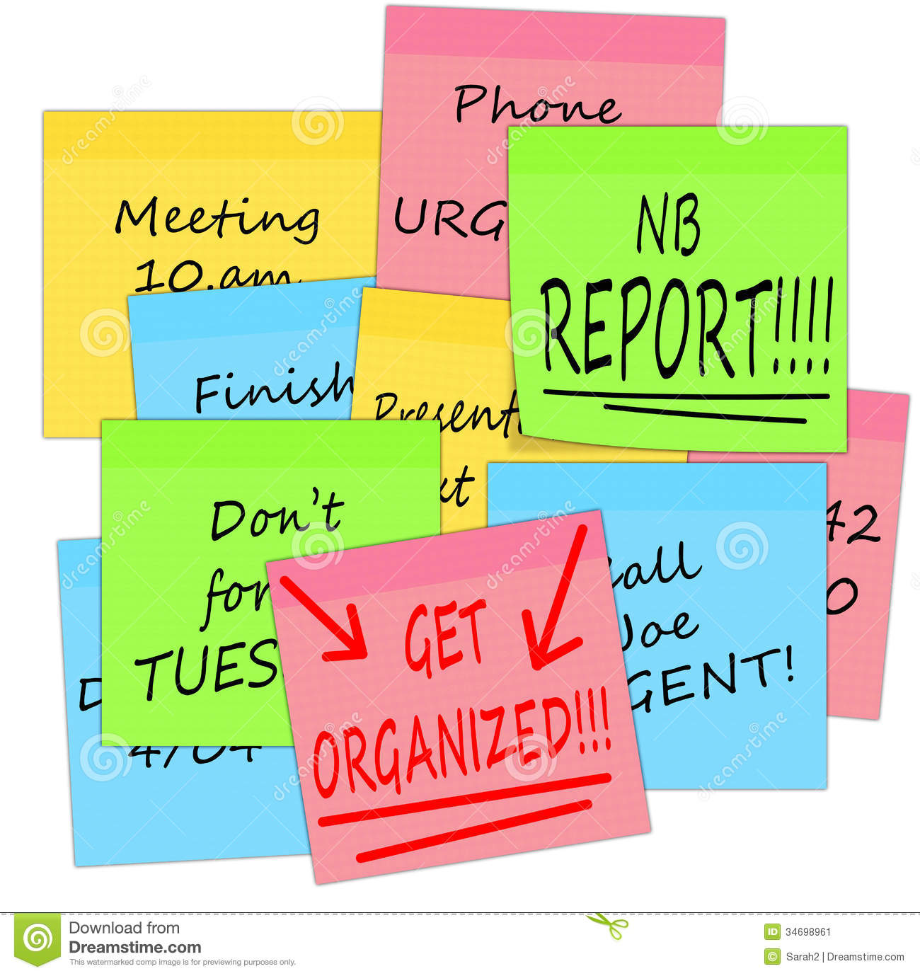 Get Organized   Business Stress Notes White Background Stock Image