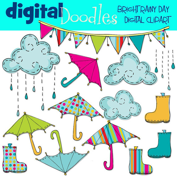Instant Download Bright Rainy Day Digital Clip Art