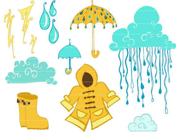 Items Similar To Rainy Day Digital Clip Art On Etsy
