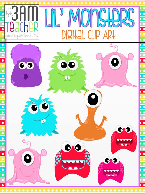 Lil  Monsters Clip Art   Graphics Set By The3amteacher On Etsy  4 00