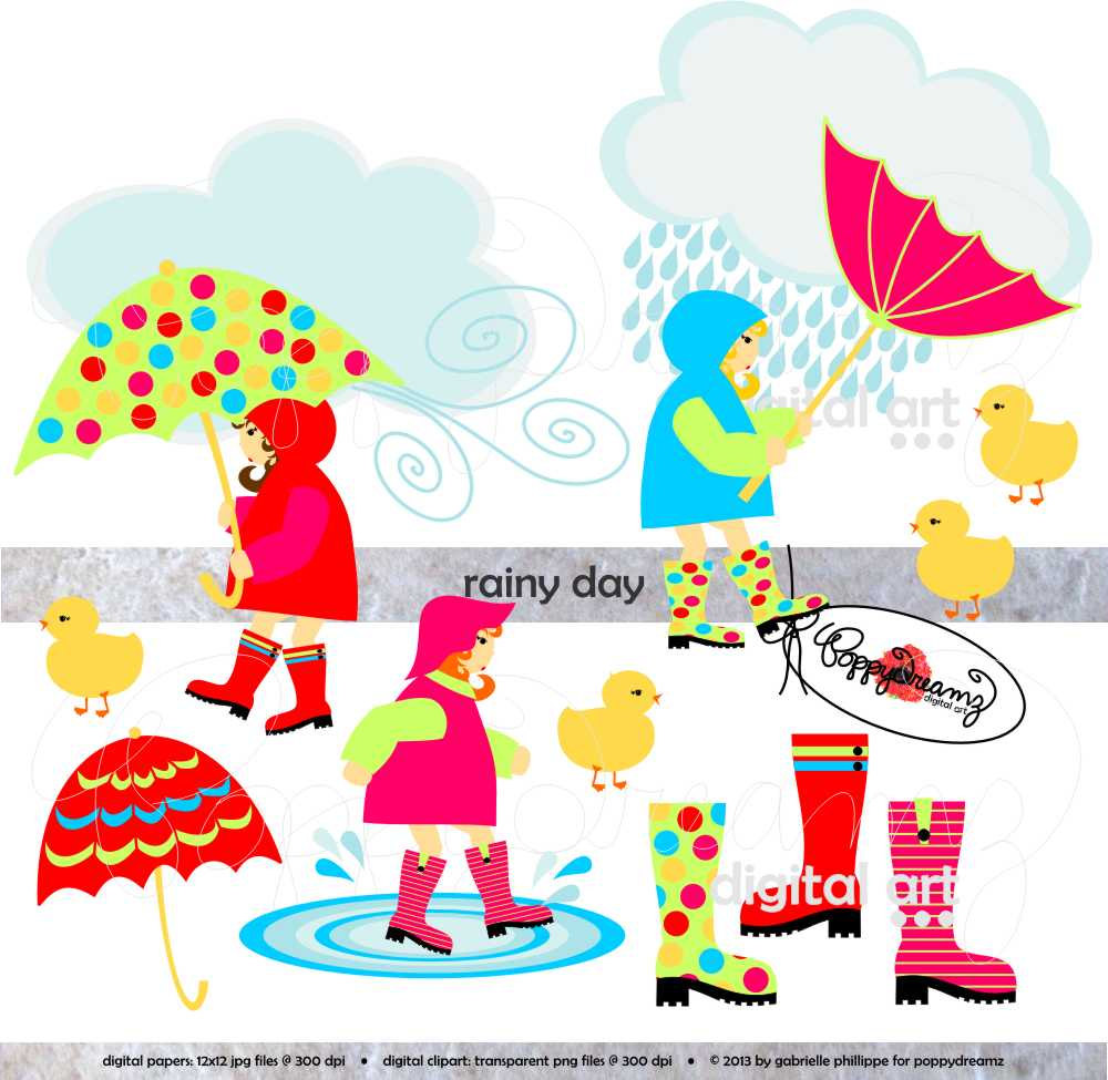 Rainy Day  Clip Art Pack 300 Dpi Transparent Png By Poppydreamz