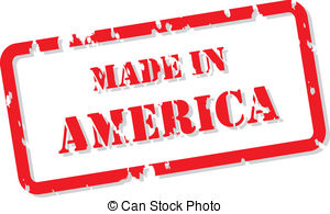 America Stamp   Red Rubber Stamp Vector Of Made In America