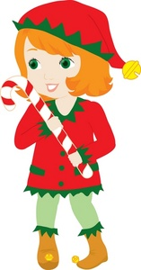 Christmas Clipart Image   Girl In An Elf Costume