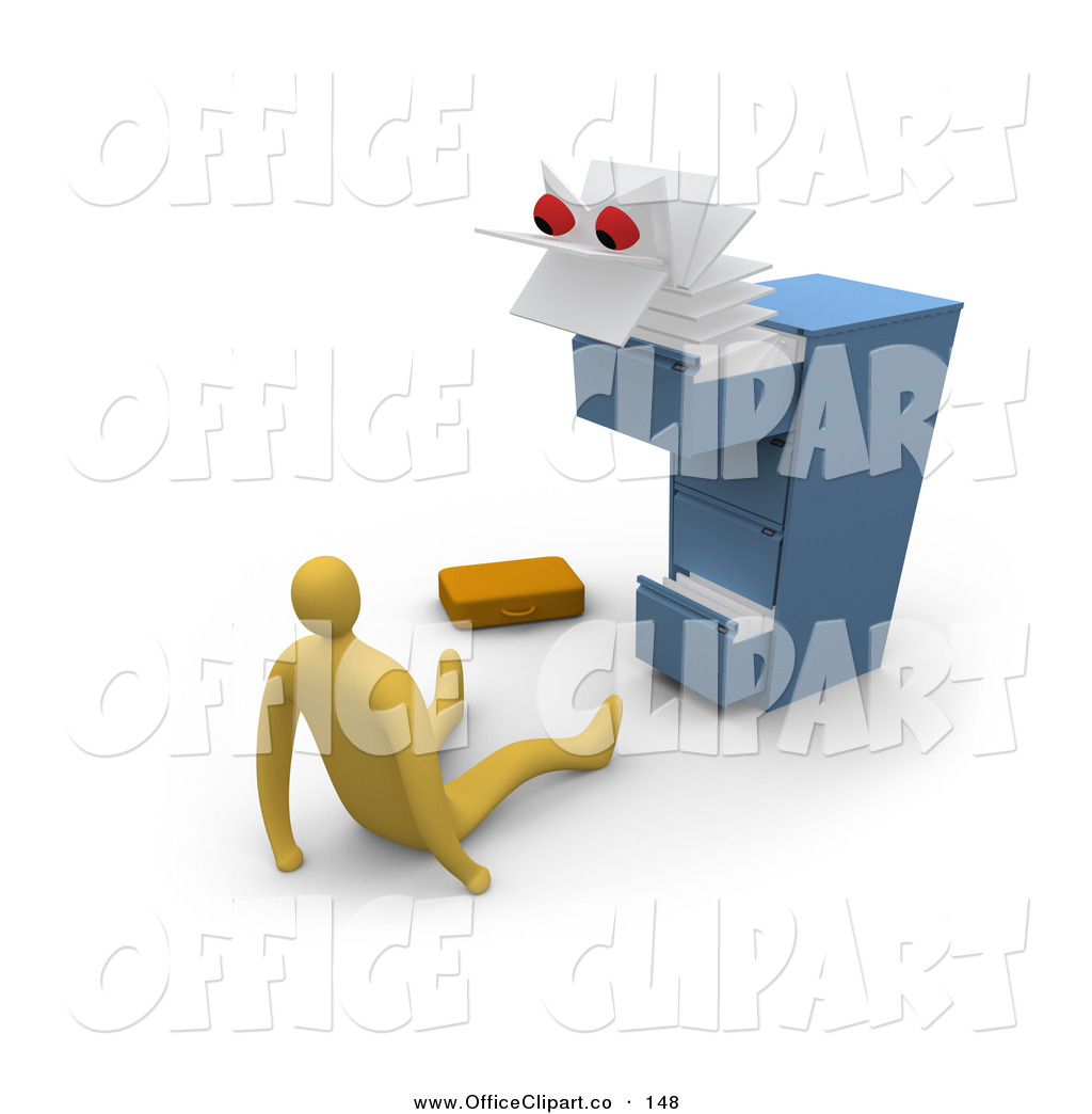 Clip Art Of A Scary White Monster Emerging From A Messy Filing Cabinet