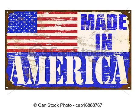 Clip Art Vector Of Made In America Enamel Sign   Made In America Rusty