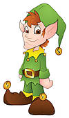Clipart Of Young Lady In A Green Christmas Elf Costume Illustration