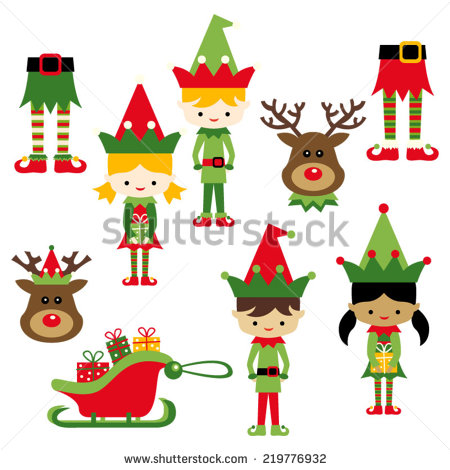 Kids In Elf Costumes  Cute Vector Clip Art Illustration For Christmas