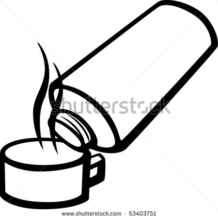 Pouring Beverage From Vacuum Flask   Stock Vector