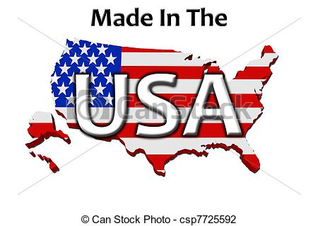 With Made In America Isolated On A White Background Made In The Usa
