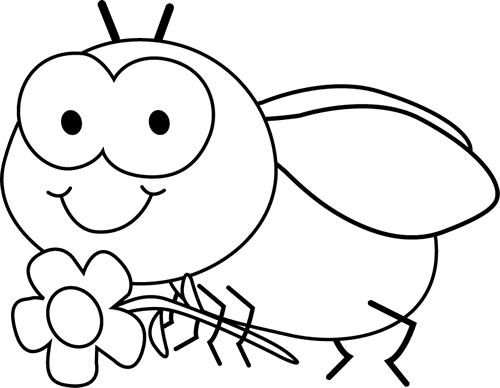 Black And White Fly And Flower Clip Art   Black And White Fly And
