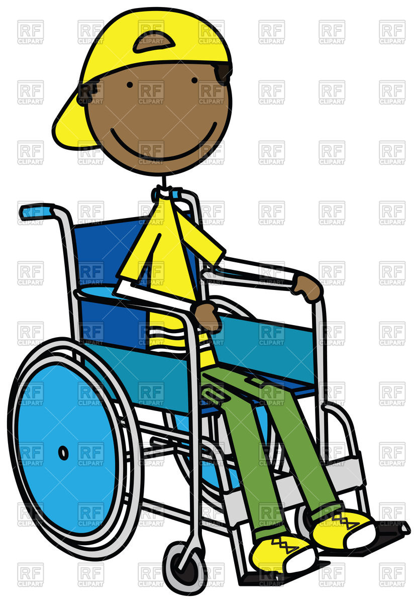 Cartoon Smiling Boy Sitting In A Wheelchair 44684 Download Royalty