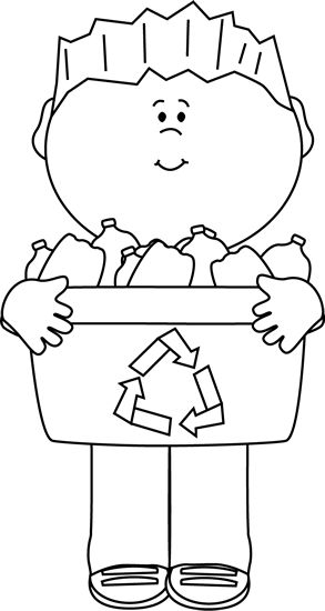 Clip Art   Black And White Boy Carrying A Recycle Bin Image  Bin Clip