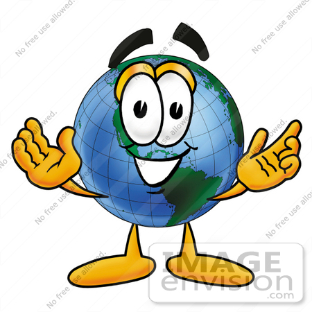Clip Art Graphic Of A World Globe Cartoon Character With Welcoming