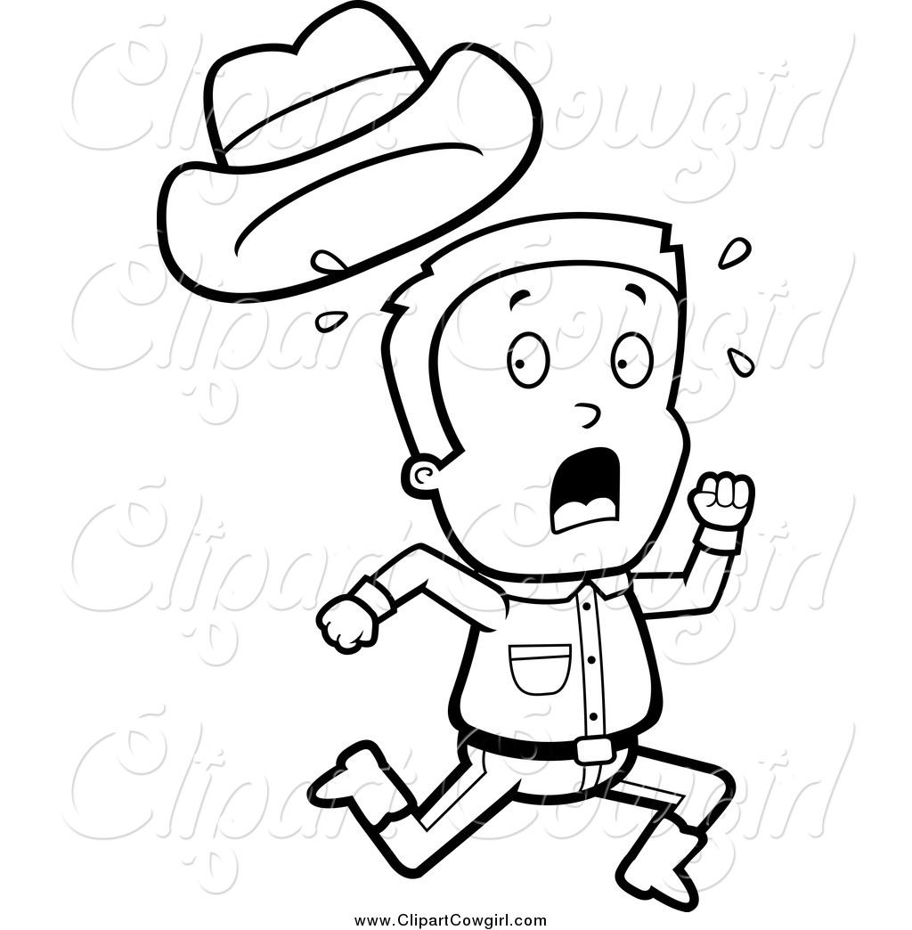 Clipart Of A Black And White Cowboy Boy Running By Cory Thoman    1376