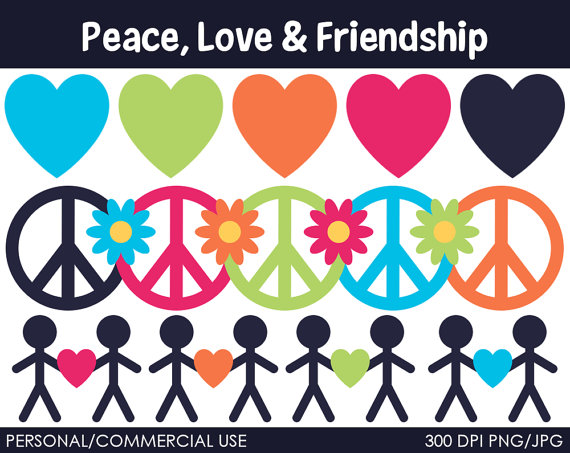 Peace Love And Friendship Clipart   Digital Clip Art Graphics For