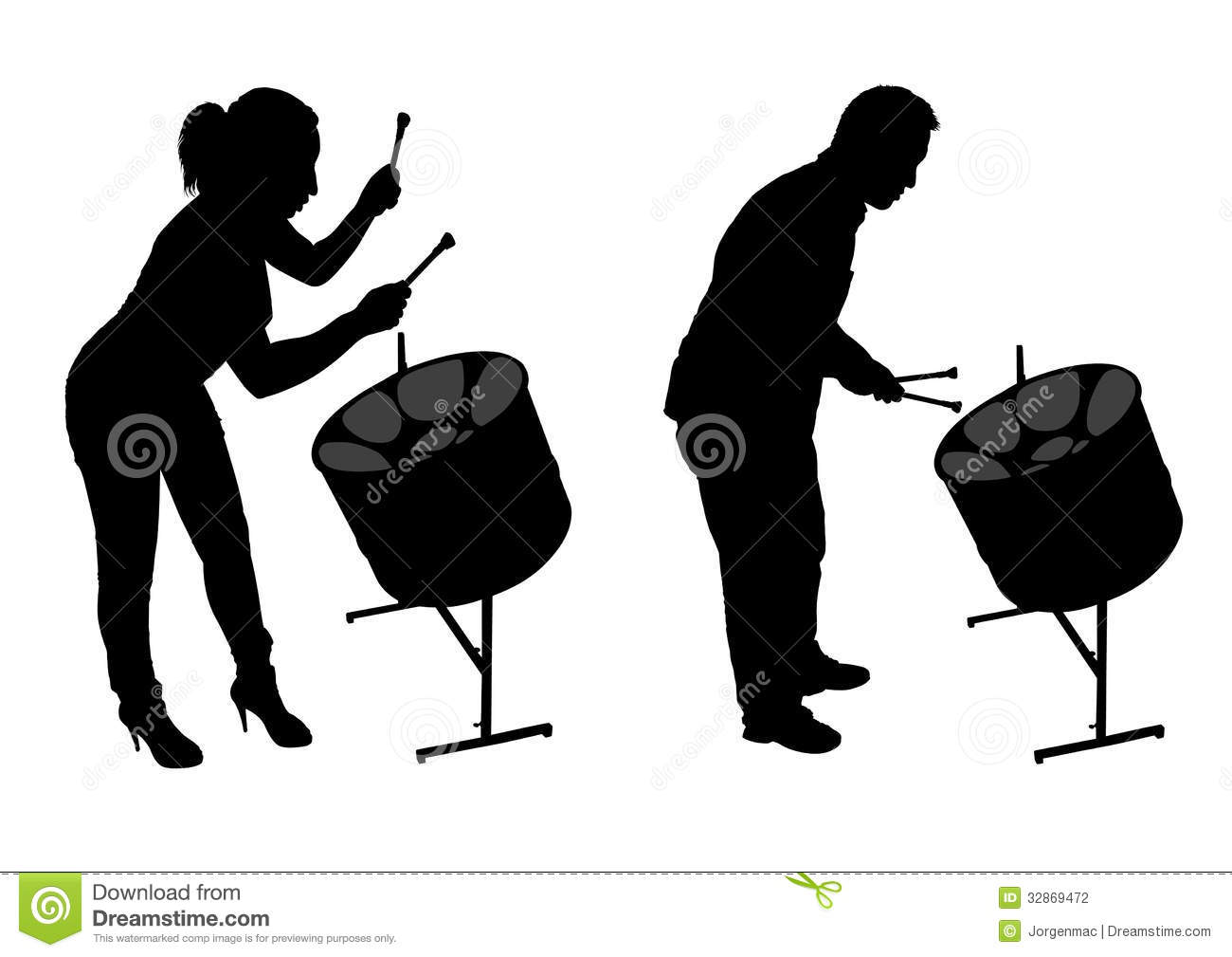 Steel Drum Players Silhouettes Stock Photography   Image  32869472