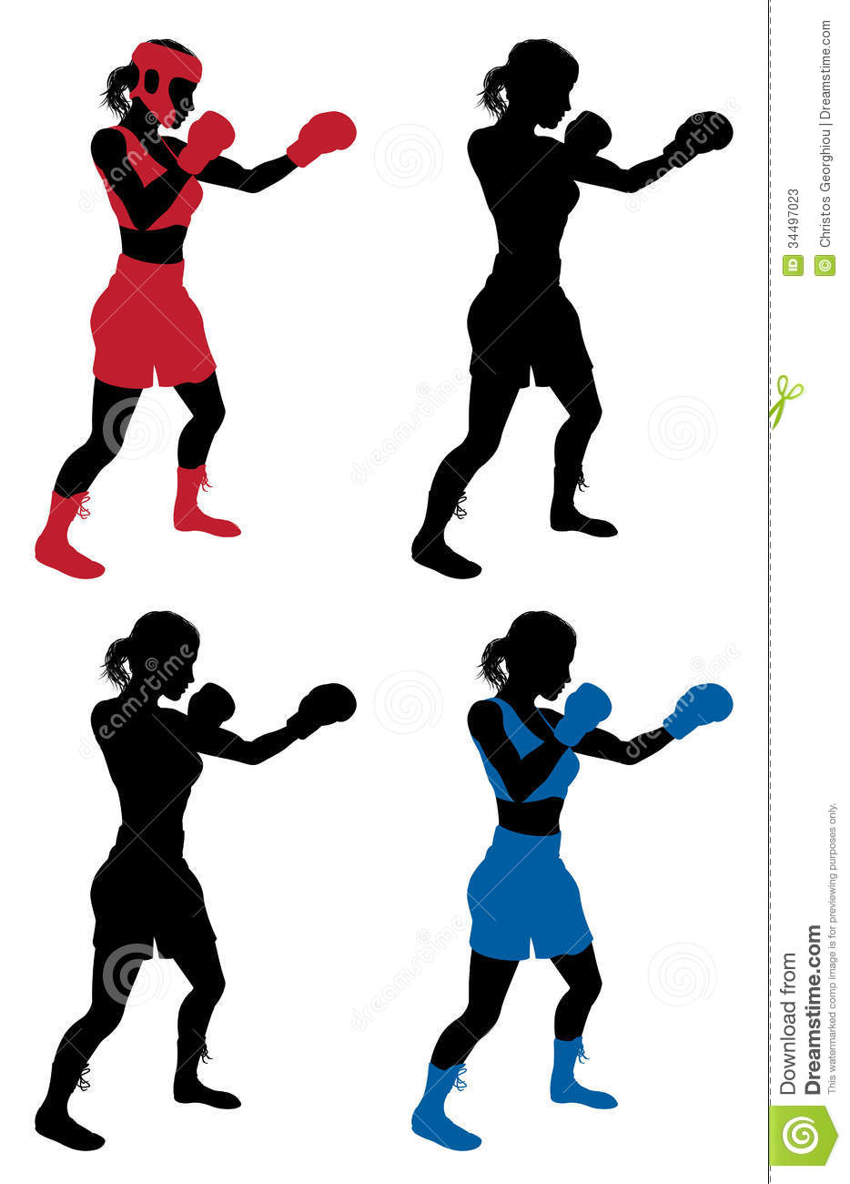 An Illustration Of A Female Boxer Or Boxercise Woman Boxing Or Working