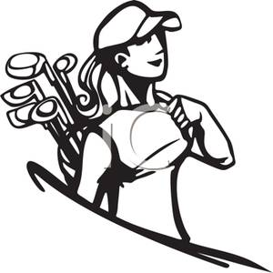 Black And White Cartoon Of A Woman Carrying Golf Clubs   Royalty