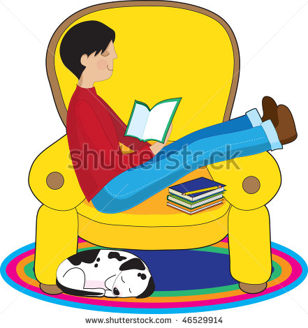 Boy Is Reading A Book In A Big Comfy Chair While His Dog Sleeps