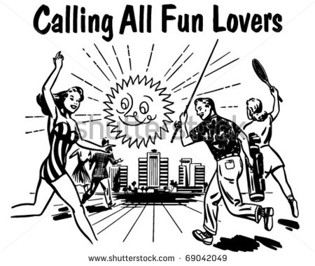 Calling All Fun Lovers   Retro Clipart Illustration   69042049