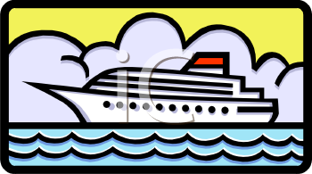 Cartoon Cruise Ship   Royalty Free Clip Art Image