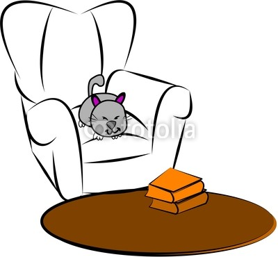 Cartoon Sketch Of Cat Sleeping On Comfy Chair By G Nicolson Royalty