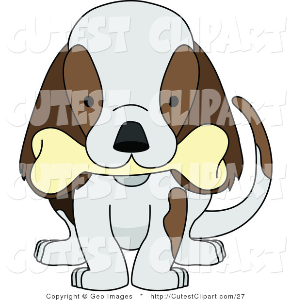 Clip Art Of A Puppy Dog Wagging Its Tail And Chewing On A Bone By Geo