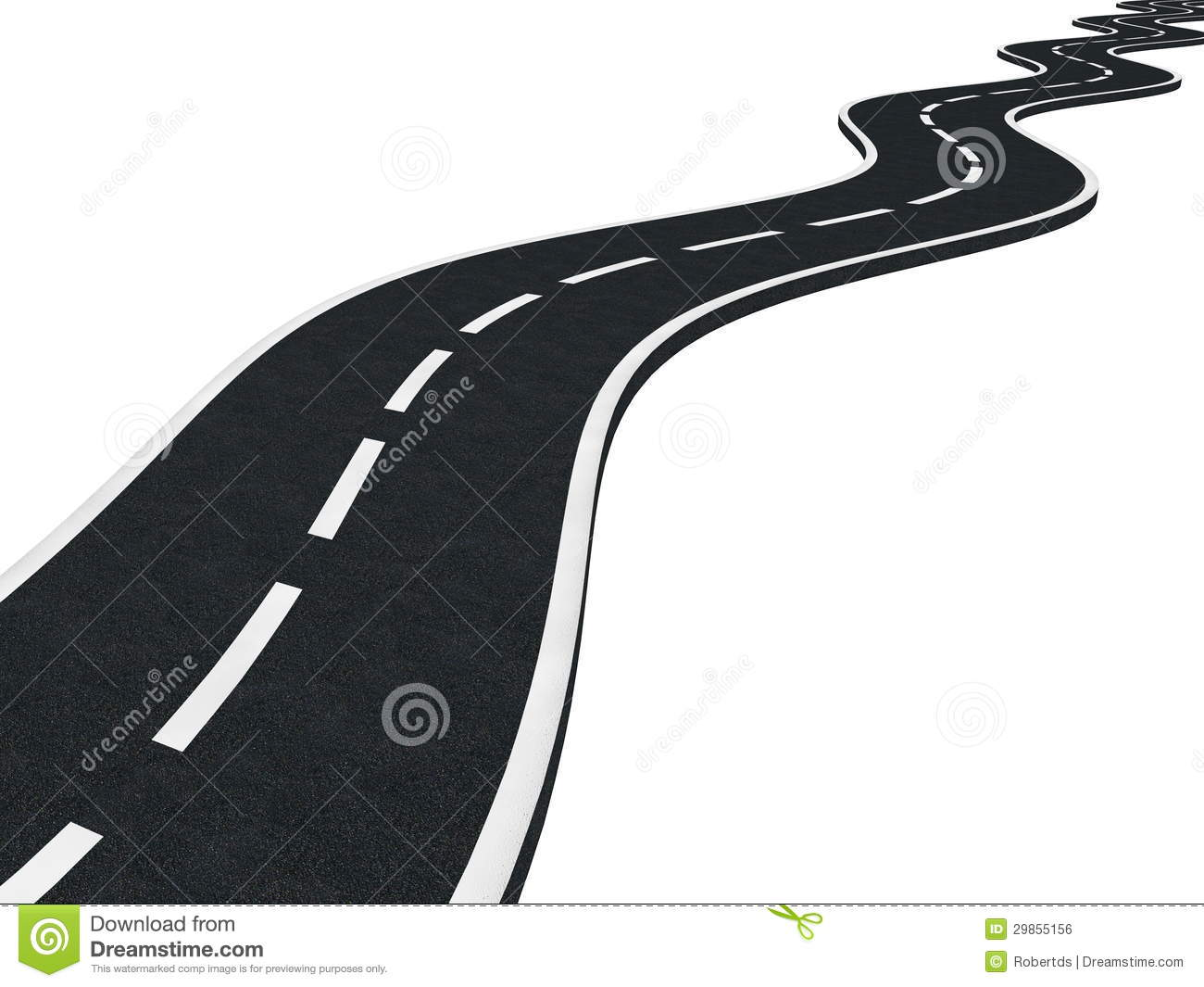 Curved Asphalt Road Isolated Royalty Free Stock Image   Image
