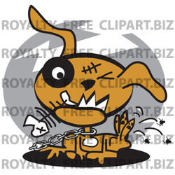 Dog Chewing On A Fishbone And Itching Fleas Off Of His Back Clipart