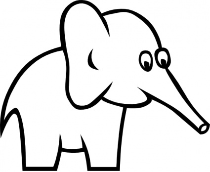 Download Cartoon Outline Elephant Clip Art Vector For Free
