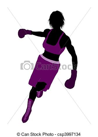 Drawing Of Female Boxer Illustration Silhouette   Female Boxing