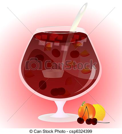 Eps Vectors Of Fruit Cup   On A Light Background Is A Glass Cup