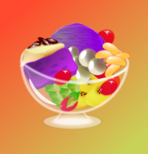 Fruit Cup Glass   Vector Clip Art